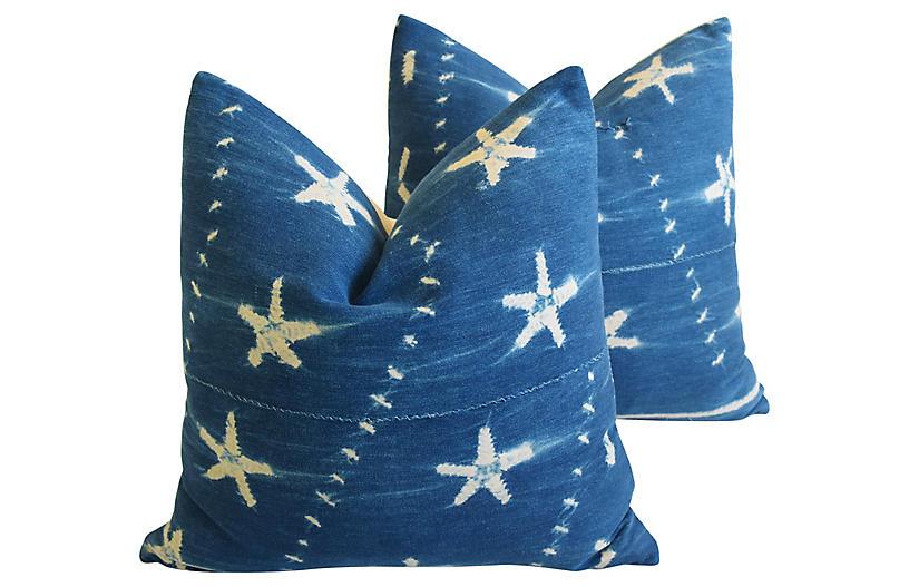 Indigo Blue & White Starfish Pillows, Pr
