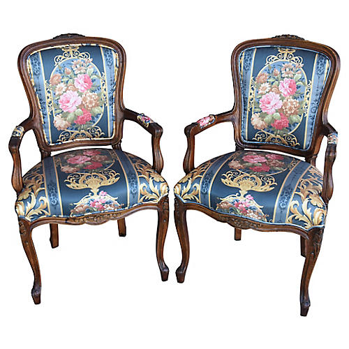 1950s French-Style Floral Chairs, Pair