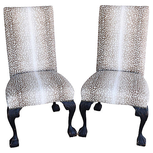 Antelope Fawn Linen Slipper Chairs, Pair