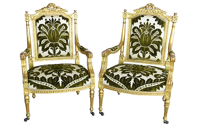 Italian Giltwood & Velvet Armchairs, S/2