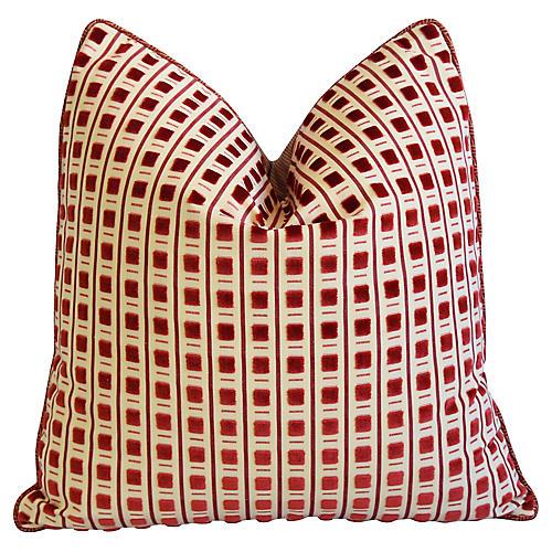 Scalamandré Red Cut Velvet Pitti Pillow