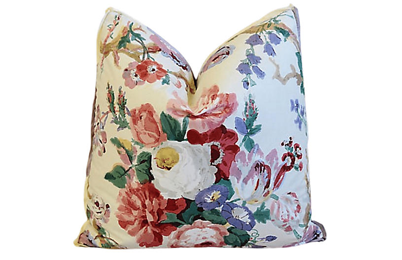 Lee Jofa Bryanston Ecru Floral Pillow