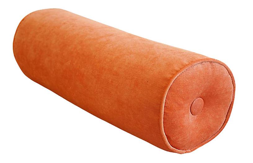 Tangerine Orange Velvet Bolster Pillow