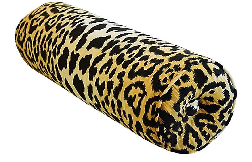 Leopard Animal Velvet Bolster Pillow