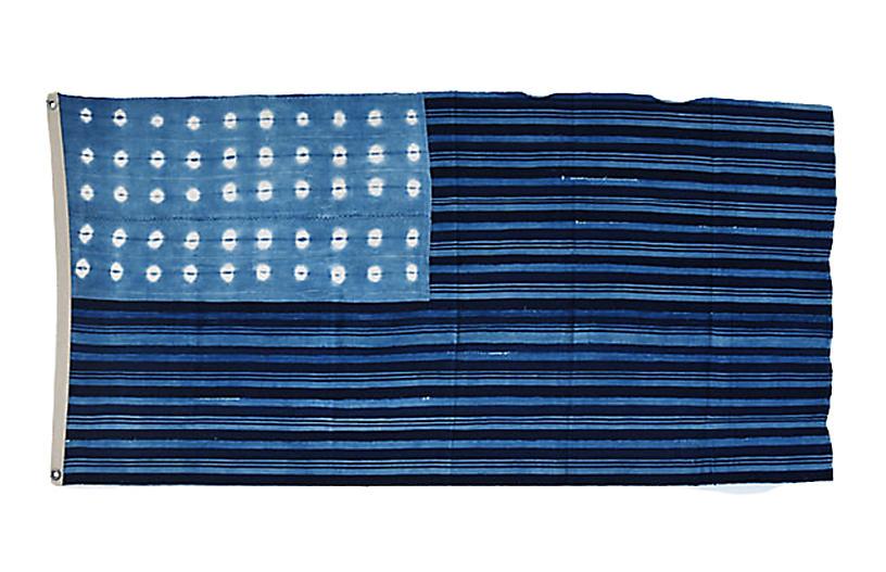 Blue & White African Textile Flag Throw