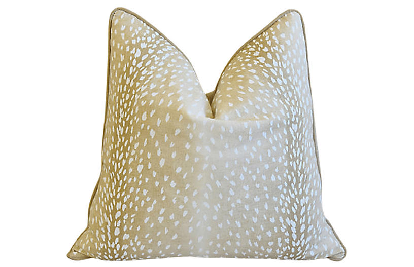 Cream Antelope Deer Linen/Velvet Pillow