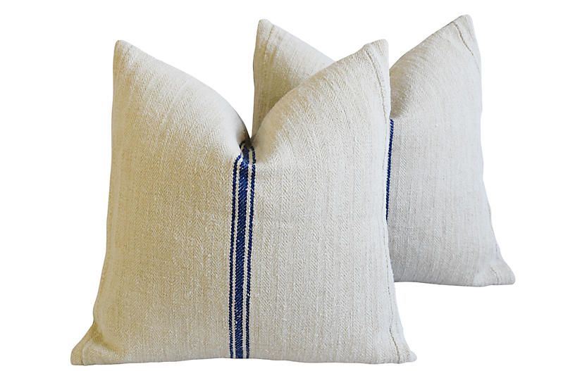 French Country Grain-Sack Pillows, Pair