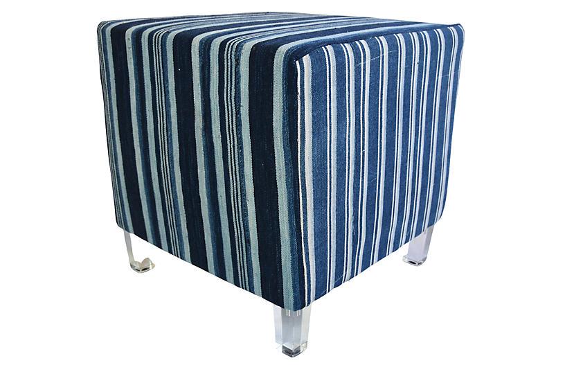 Blue & White Ottoman Pouf W/ Lucite Legs