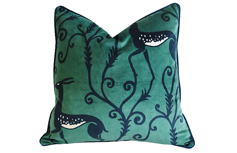 Zoffany Deco Deer Green Velvet Pillow