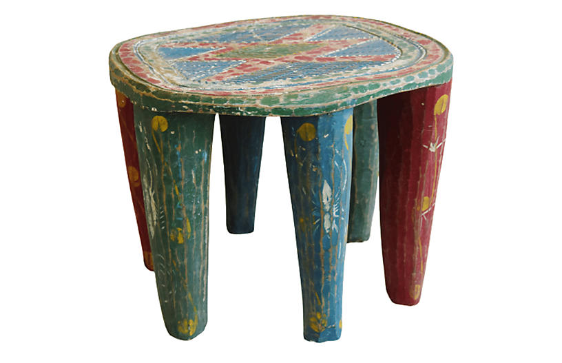 African Hand-Carved Senufo Stool Bench