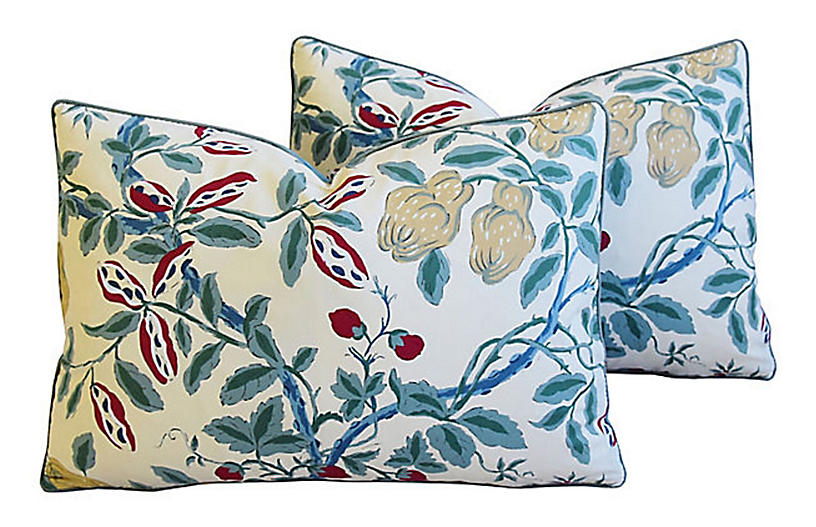 French Manuel Canovas Floral Pillows, Pr