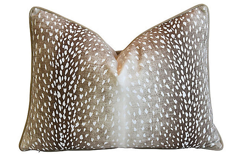 Fawn Deer Spot Linen & Velvet Pillow