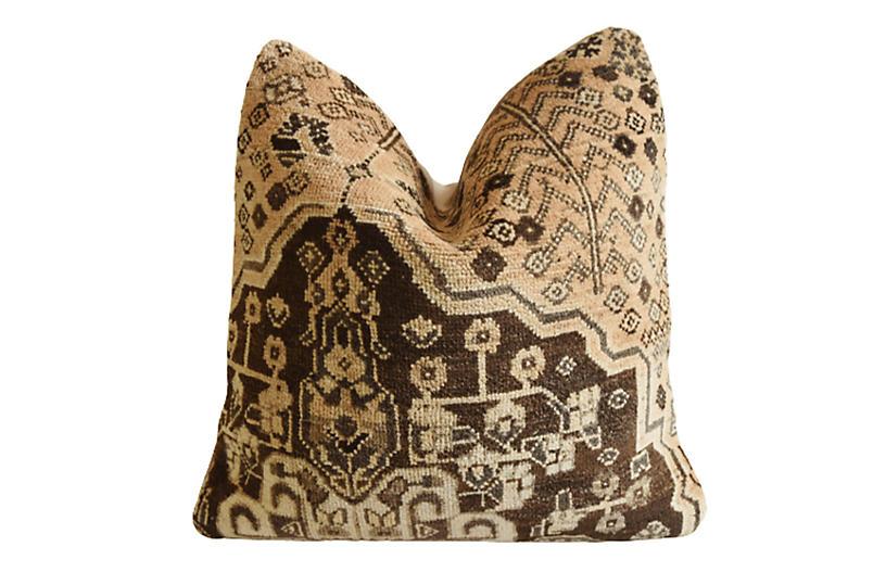 Vintage Turkish Wool Carpet Rug Pillow
