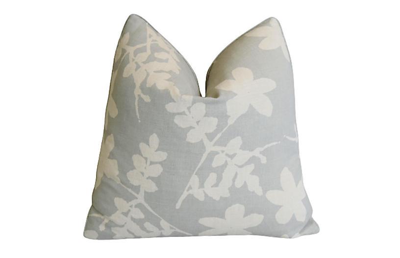 Raoul Hand-Printed Linen & Velvet Pillow