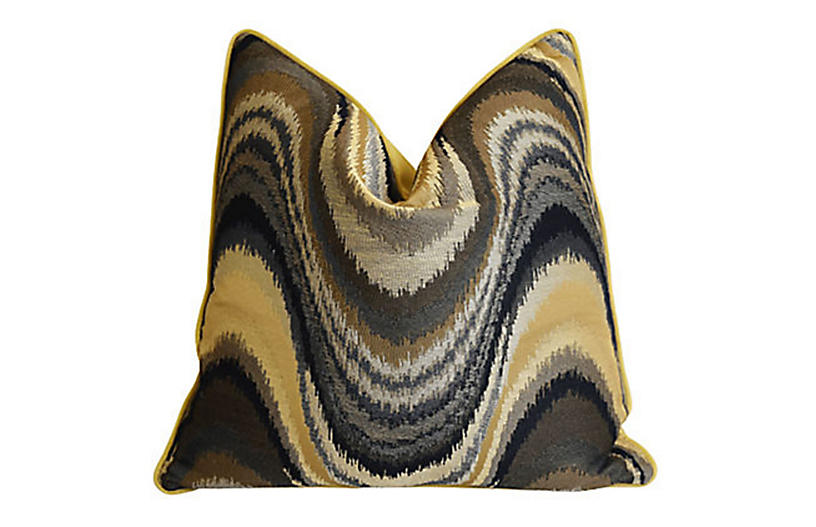 Modern Abstract Brown & Gold Wave Pillow