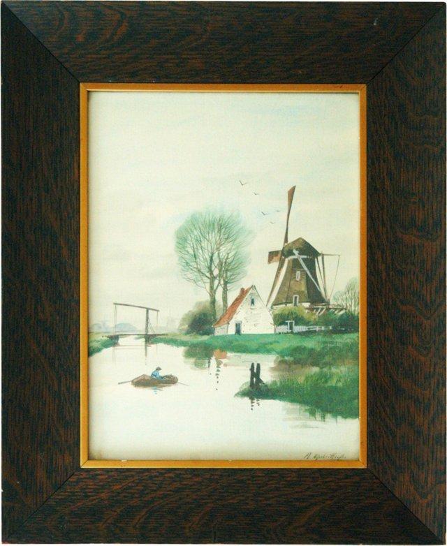 Dutch Windmill & River Scene