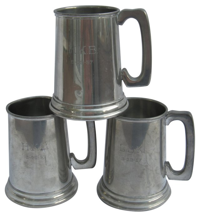 Unity Pewter Trophy Mugs, S/3