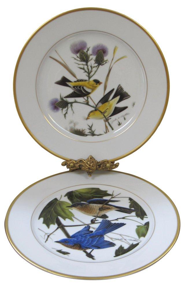 Walnut Boxed Bird Plates, Pair