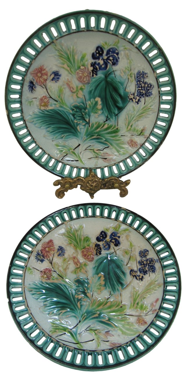 Majolica Reticulated Plates, Pair