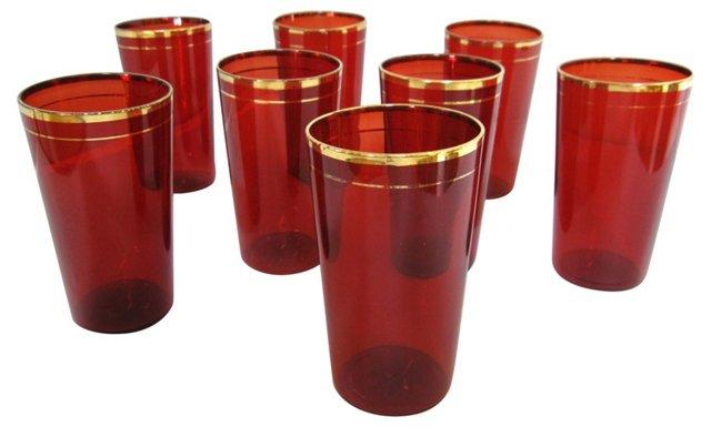 Gilded Cranberry Glasses, Set of 8