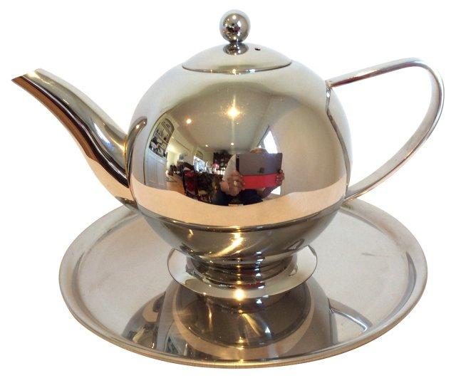 Silver Teapot & Tray