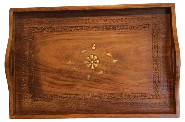 Brass Inlaid Serving Tray