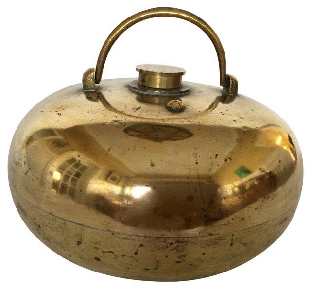 19th-C. Brass Bed Warmer