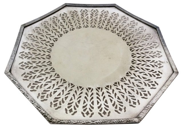 Octagonal Serrated Silverplate Tray