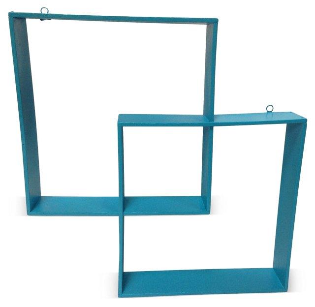 Midcentury Turquoise Painted Shelf