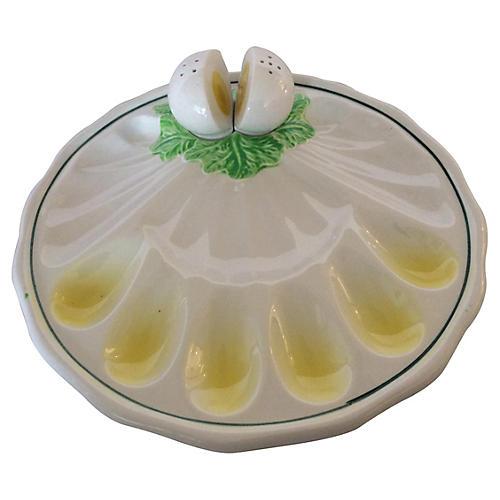 Egg Plate w/ Salt & Pepper Shakers