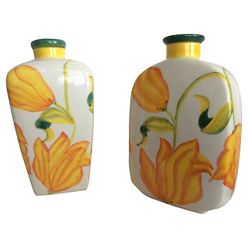 Hand-Painted Vases, S/2