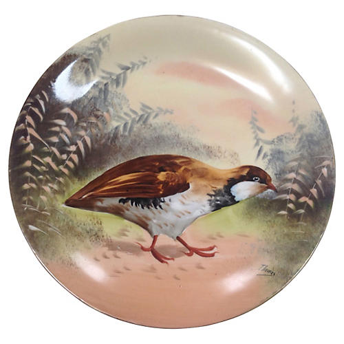 Artist Signed Limoges Quail Charger