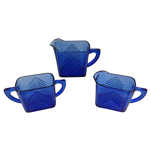 Midcentury Blue Glass Serving Set, 3 Pcs