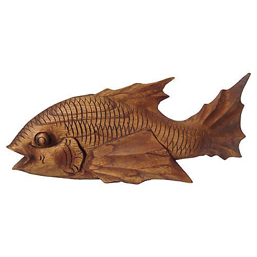 Carved Wood Koi