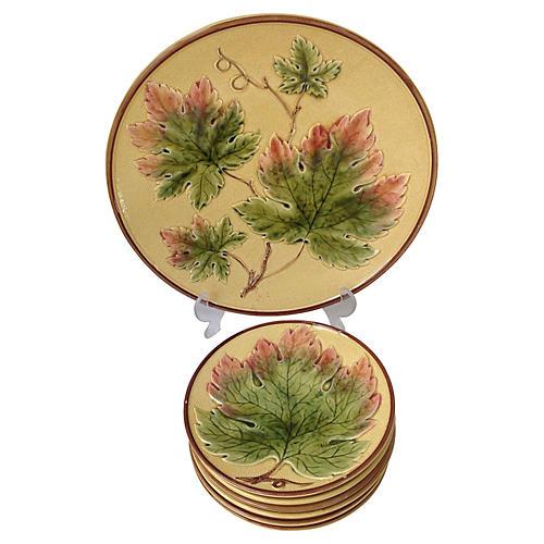 7-Pc Majolica Leaf Serving Set