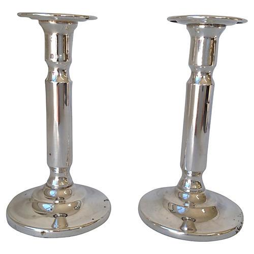 Sheffield Silver Candlesticks, S/2