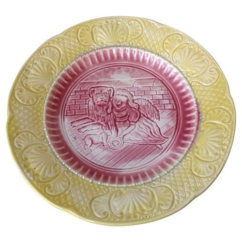 Yellow & Pink Majolica Plate