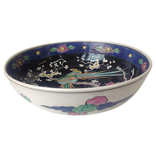 Chinoiserie Floral & Fowl Bowl
