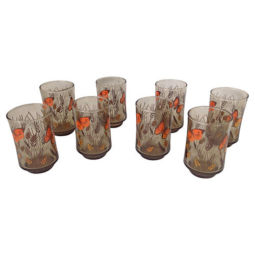 Libbey Butterfly Tumblers, S/8