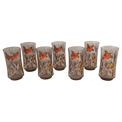 Libbey Butterfly Tumblers, S/7