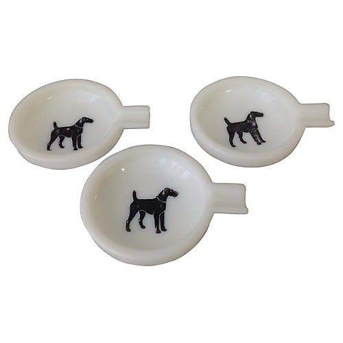 Vintage Airedale Personal Ashtrays, S/3