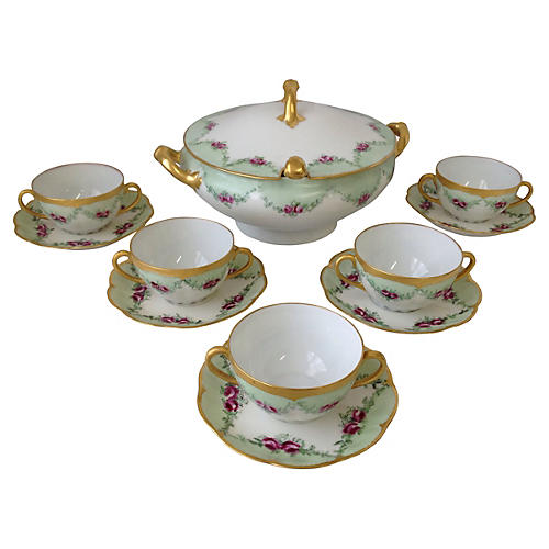 Limoges Soup Serving Set, Svc. for 5
