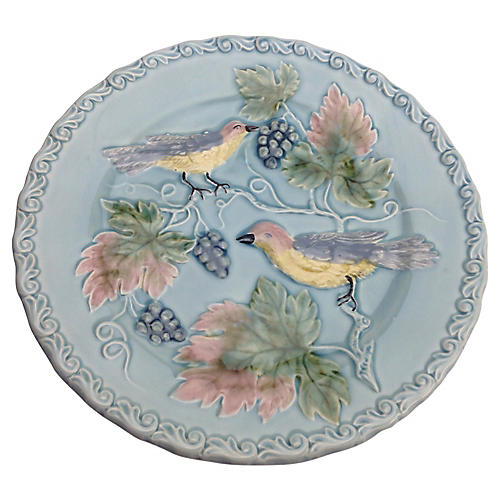 Majolica Birds Plate