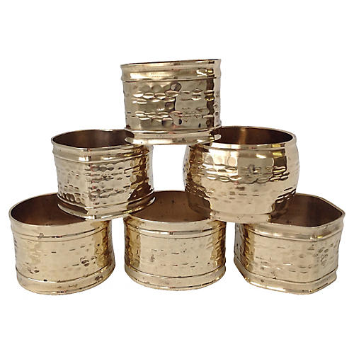 Brass Napkin Rings, S/6