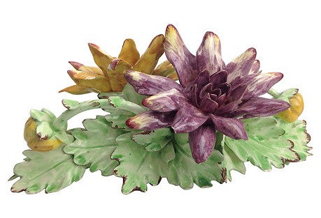 Italian Yellow & Purple Flowers Display