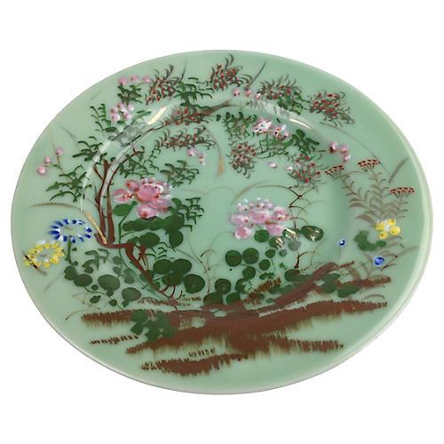Antique Celadon Floral Plate