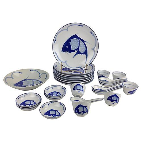 30-Pc Chinese Koi Dinnerware Set
