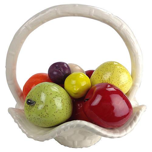 Porcelain Fruit in Basket Display