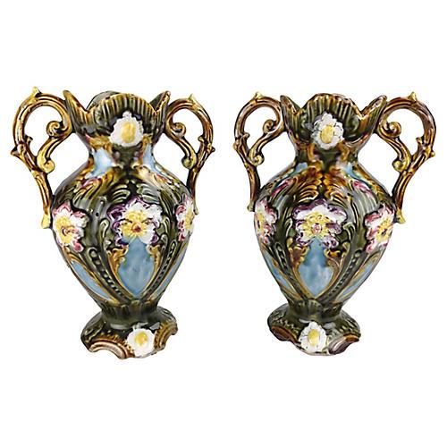 Majolica Handled Vases, Pair