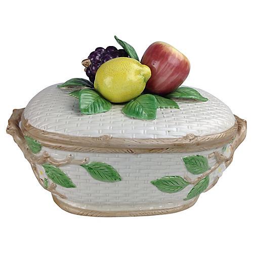 Fitz & Floyd Basket-Weave Fruit Tureen